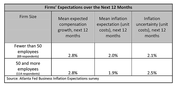 Firms' Expectations over the Next 12 Months